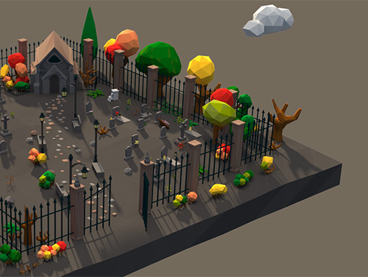 Low Poly Cemetery Scene Assets