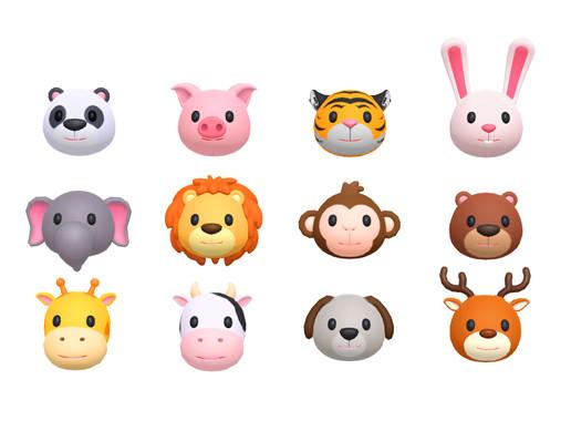 Cartoon Animal Head Pack