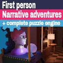 First person narrative adventures + complete puzzle engine