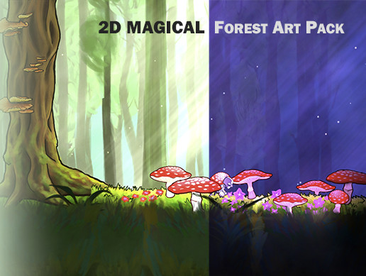 2D Magical Forest 4K Art Pack. Hand Drawn, Pastel Style!