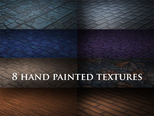 8 pack hand painted tileable textures