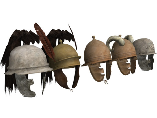Low-poly roman helmets
