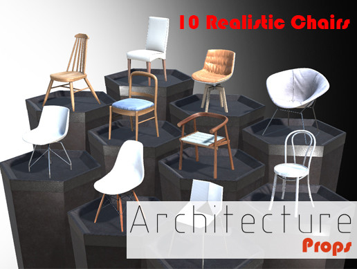 Architecture Props - 10 Realistic Chairs