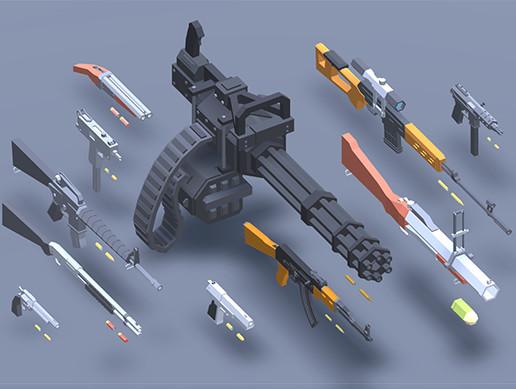 Low Poly Guns v2.0
