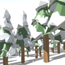 Snowy Low-Poly Trees