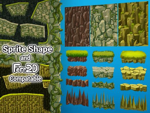 2D SpriteShape/Ferr2D Textures pack - Rocks