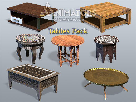 Low Poly Tables pack (Arabic)