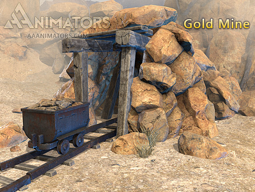 Low Poly Gold Mine pack