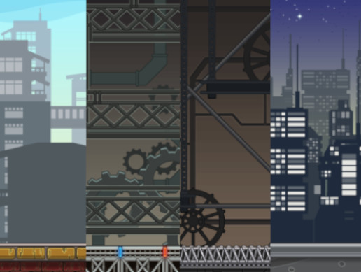 City and Factory Seamless Parallax 2D Backgrounds