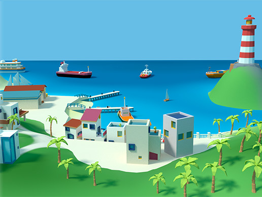 Low poly coastal town pack