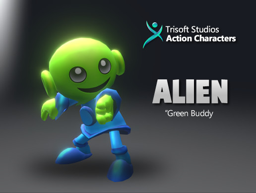 Alien 3D Rigged Cartoon Character AA Quality