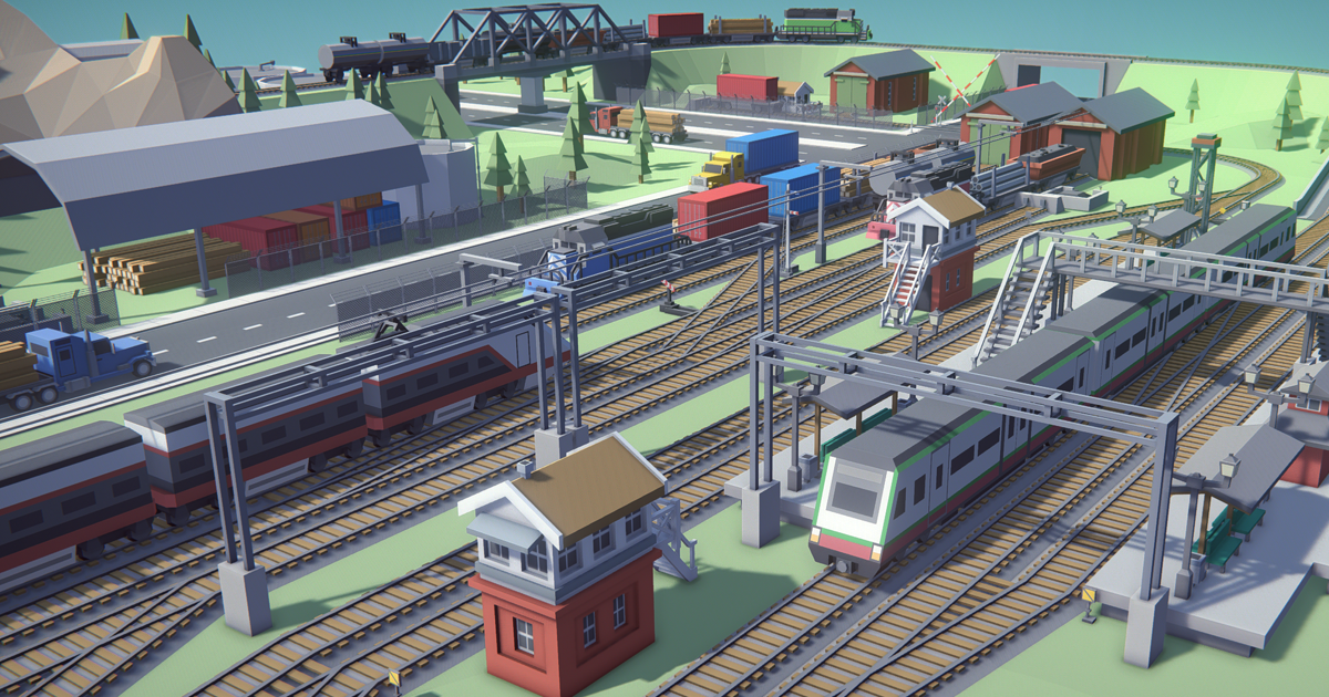 Simple Trains - Cartoon Assets