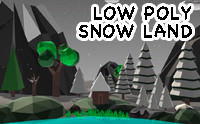 Low Poly Late Night Snow Land