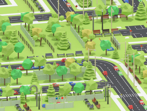 Lowpoly Modern City Decorations Set