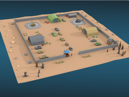 Low Poly Military Base Pack