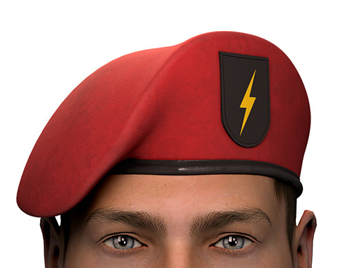 Military Red Beret of Army Special Forces with patch emblem