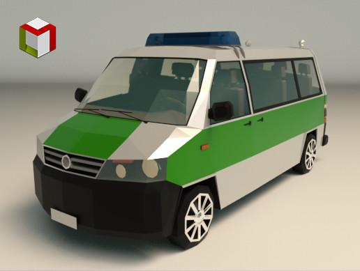 Low Poly Police Van 02