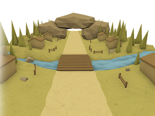 Lowpoly Village Road For Runner