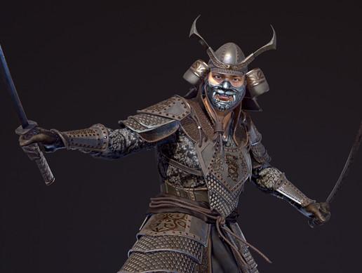 Samurai fantasy low-poly