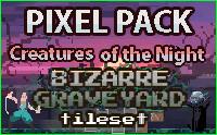 [Pixel art] Creatures of the Night: BIZARRE GRAVEYARD Tileset