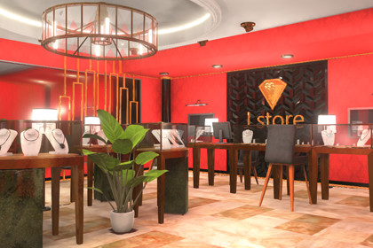 Jewelry store - luxury interior and furniture