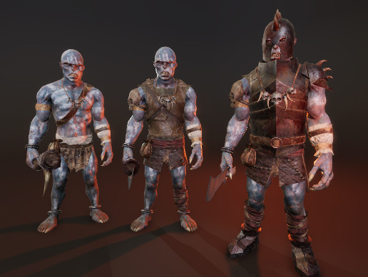PBR Blue Orc Characters Pack
