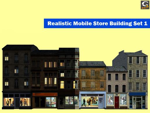 Realistic Mobile Store Building Set 1