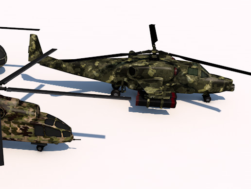 Pack Of 3 high detailed low poly helicopters
