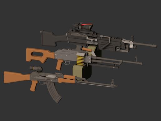 Low Poly Machineguns Pack