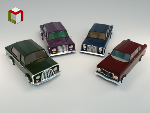 Low Poly Sedan Car Pack 02