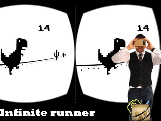 VR Infinite runner T-rex chrome style for cardboard