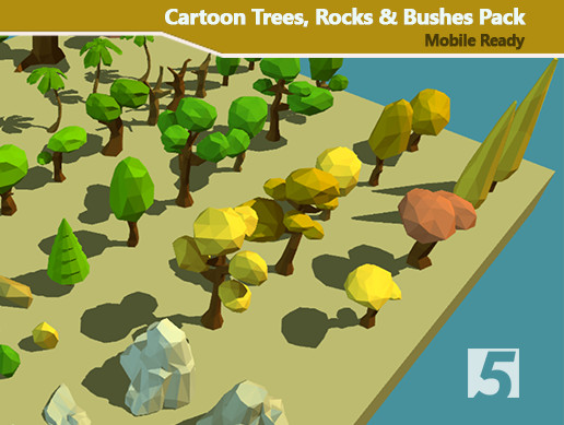 Cartoon Trees, Rocks & Bushes - Low Poly Vegetation Pack