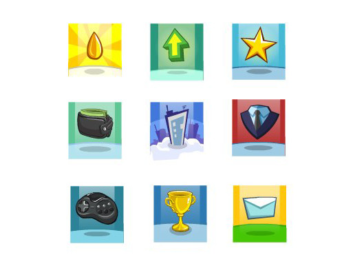Achievements Cartoon Icons Set