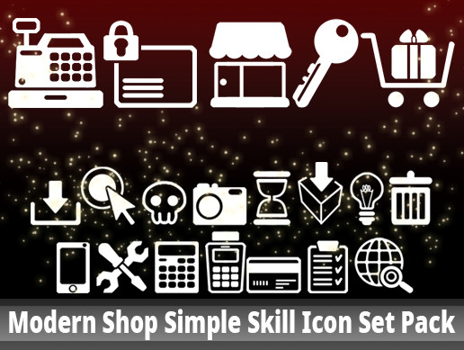Modern Shop Simple Skill Icon Set Pack