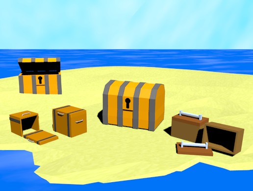Low poly treasure chest pack
