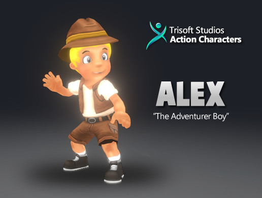 Alex 3D Rigged Cartoon Character AA Quality