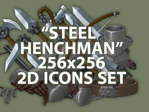 "2D RPG 256x256 icons set ""Steel henchman"""