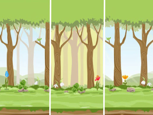 Simple 2D Cartoon Forest Environment