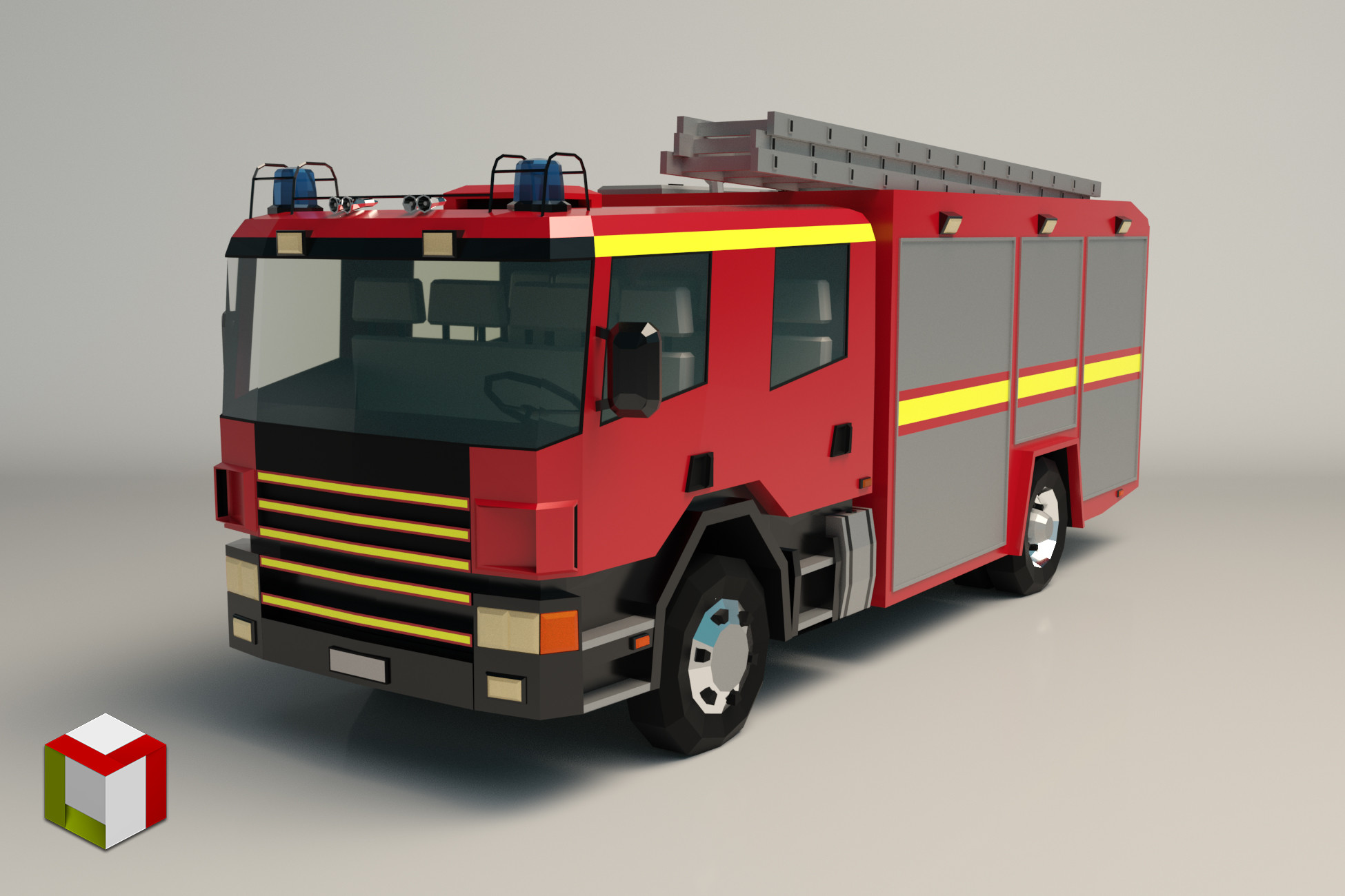 Low Poly Fire Truck 02
