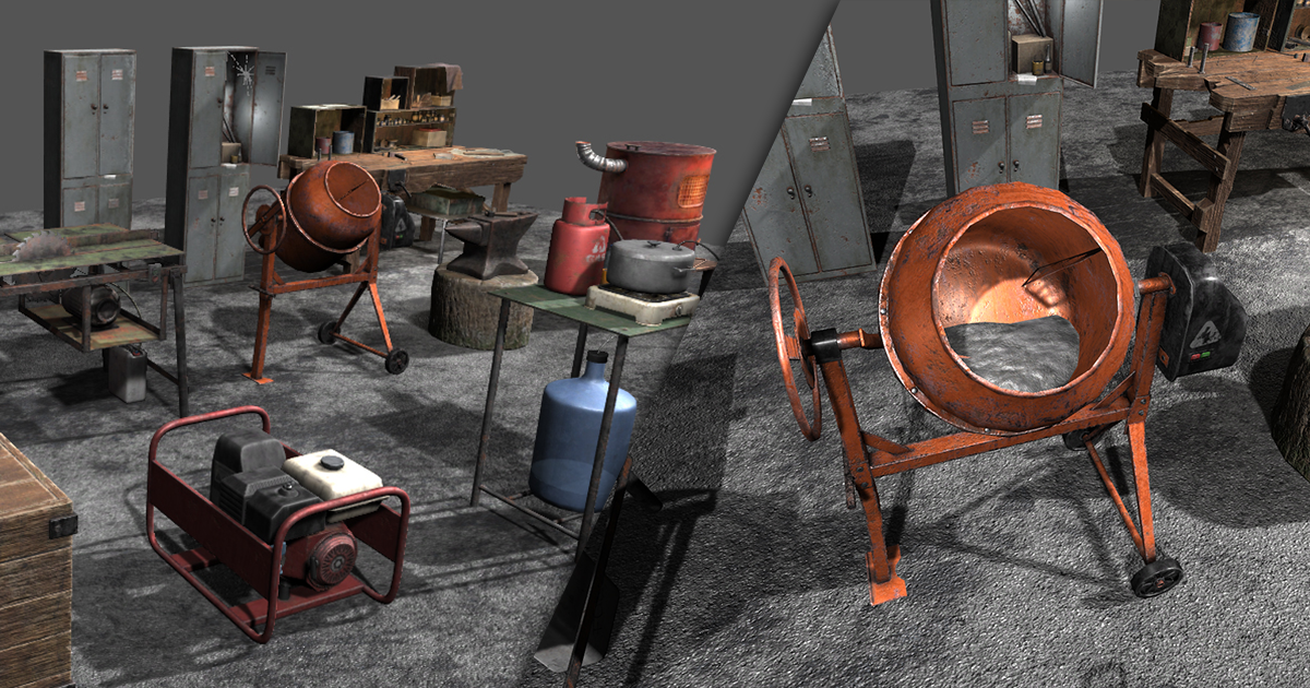 Set of workbenches and tools