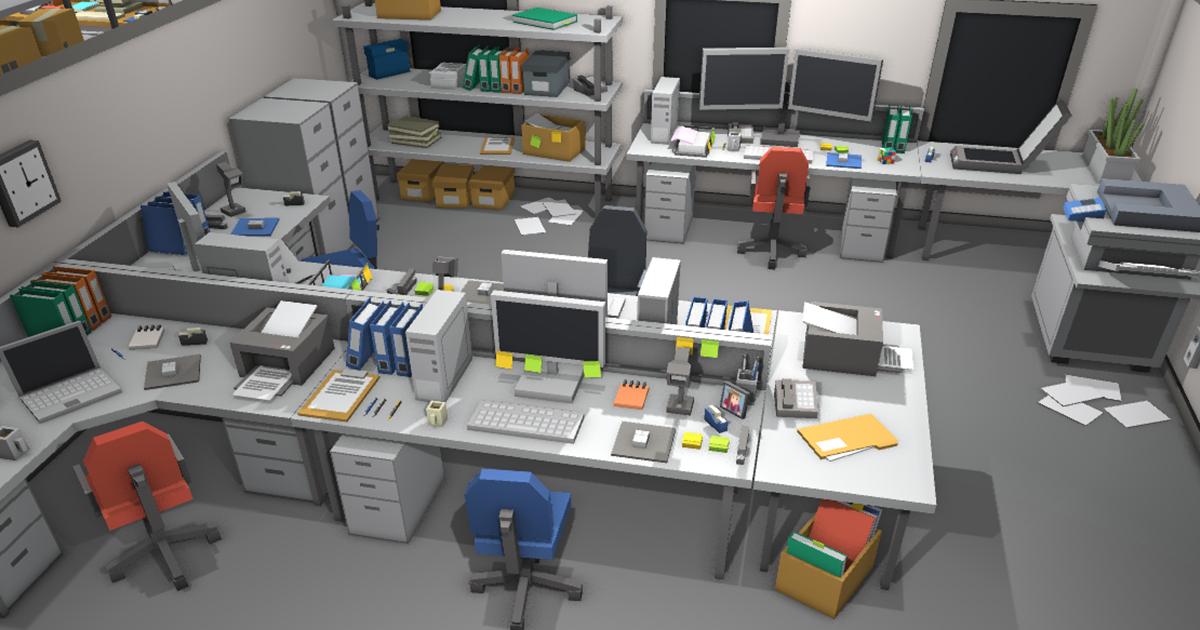 Simple Office Interiors - Cartoon assets