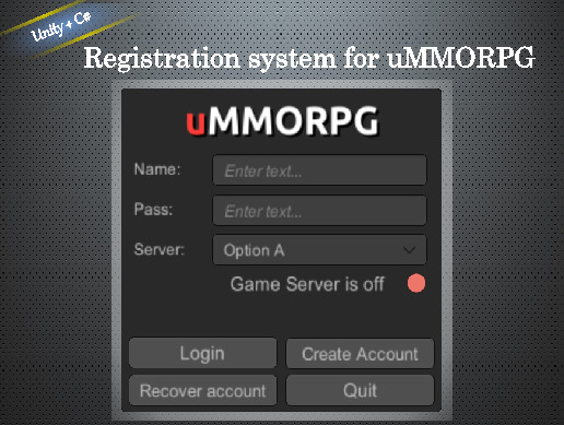Registration system for uMMORPG