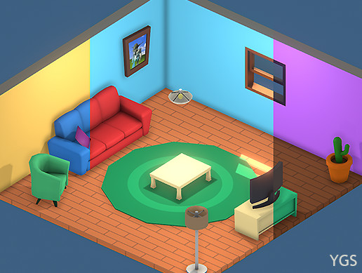 Low Poly Cartoon Living Room Furniture