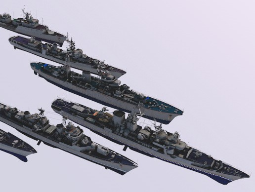 Pack Of 7 high detailed battle ships