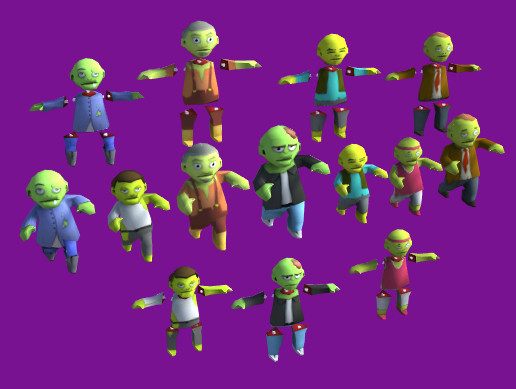 Zombies Cartoon Characters Pack