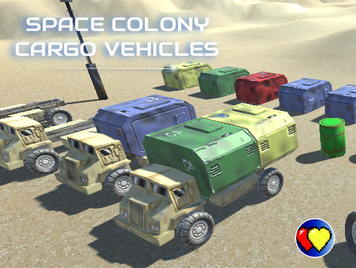 Space Colony Cargo Trucks (Low poly)