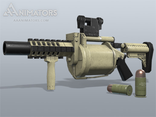 Low Poly 3D Grenade Launcher Pack