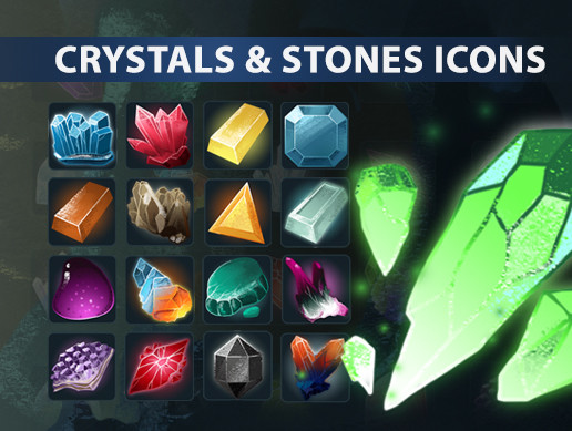 Crystal and stones icon