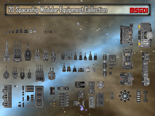 2D Spaceship Modular Equipment Collection