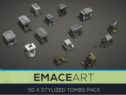 Low Poly Tomb Kit with LODs